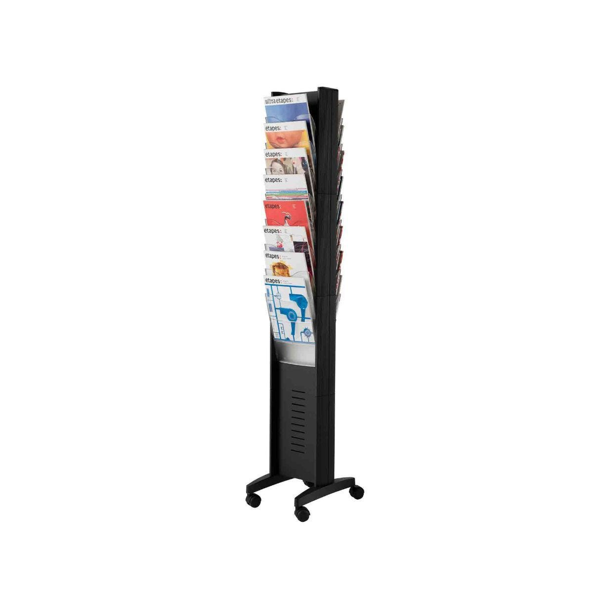 Fast Paper Floor Standing Mobile Display With 16 A4 Pockets Black