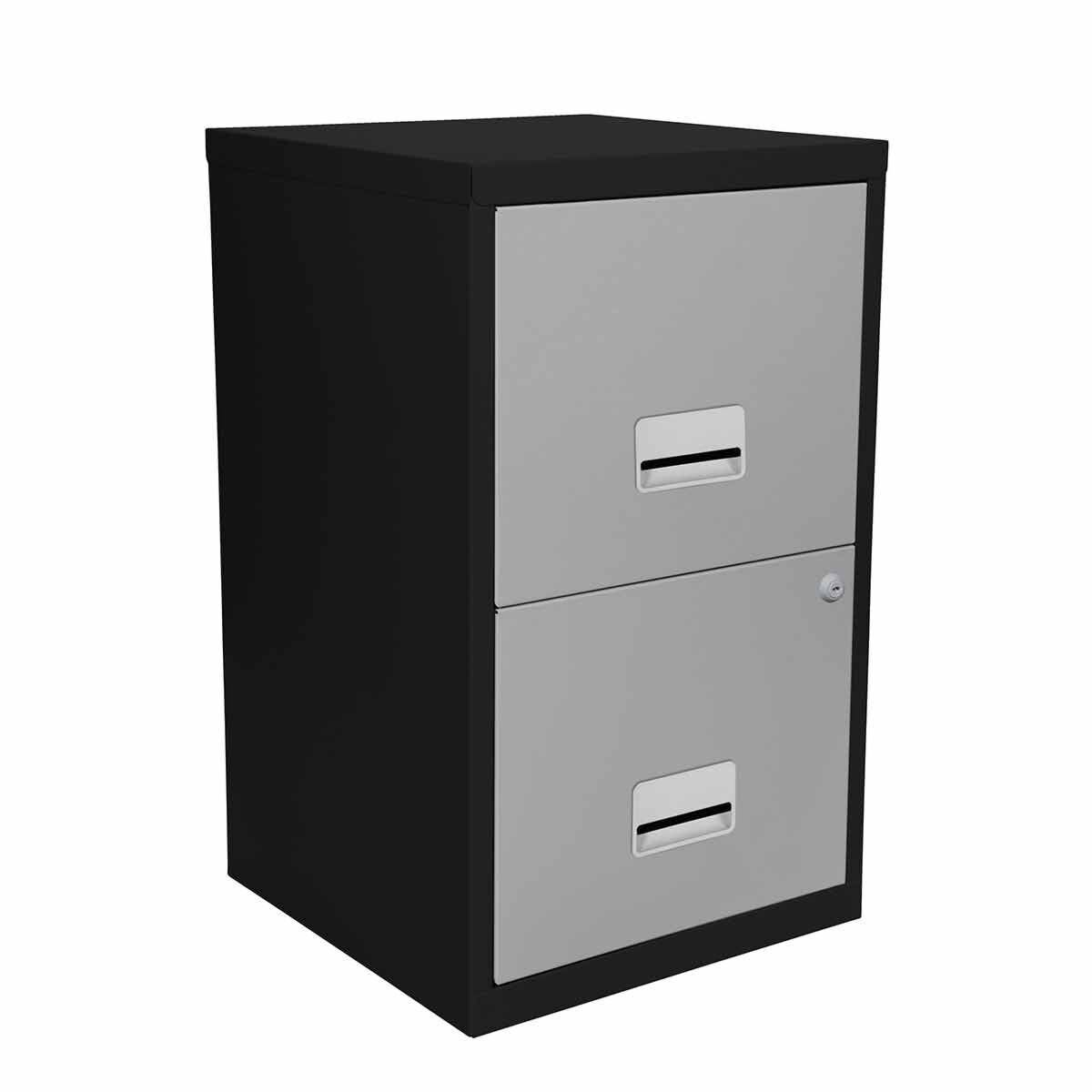 Pierre Henry Metal 2 Drawer Maxi Filing Cabinet A4 Black/Silver