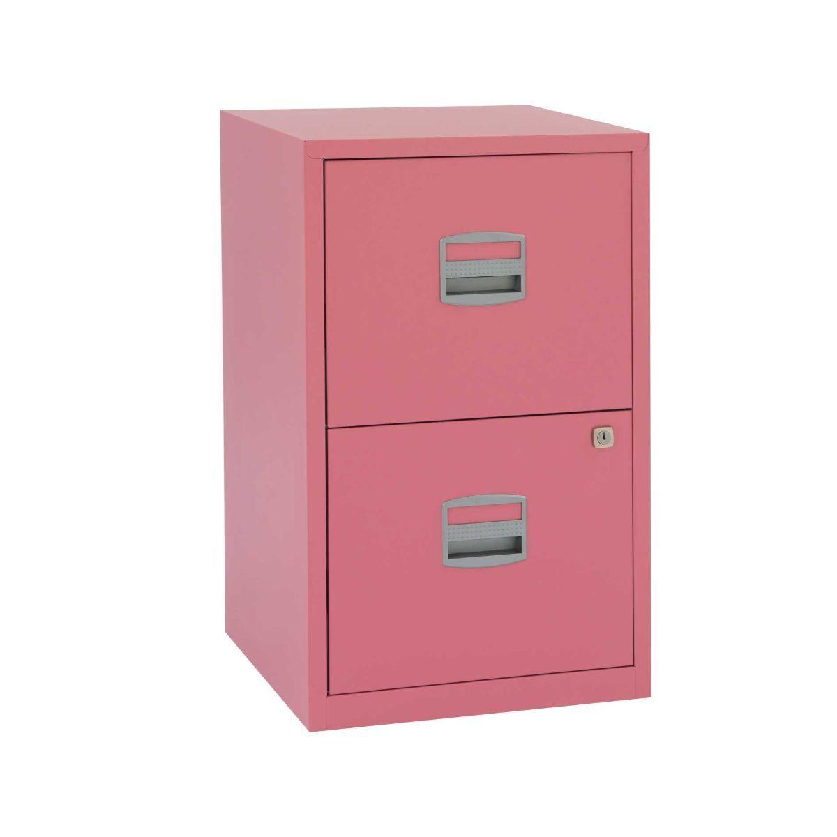 Bisley Metal Filing Cabinet 2 Drawer A4 Pink