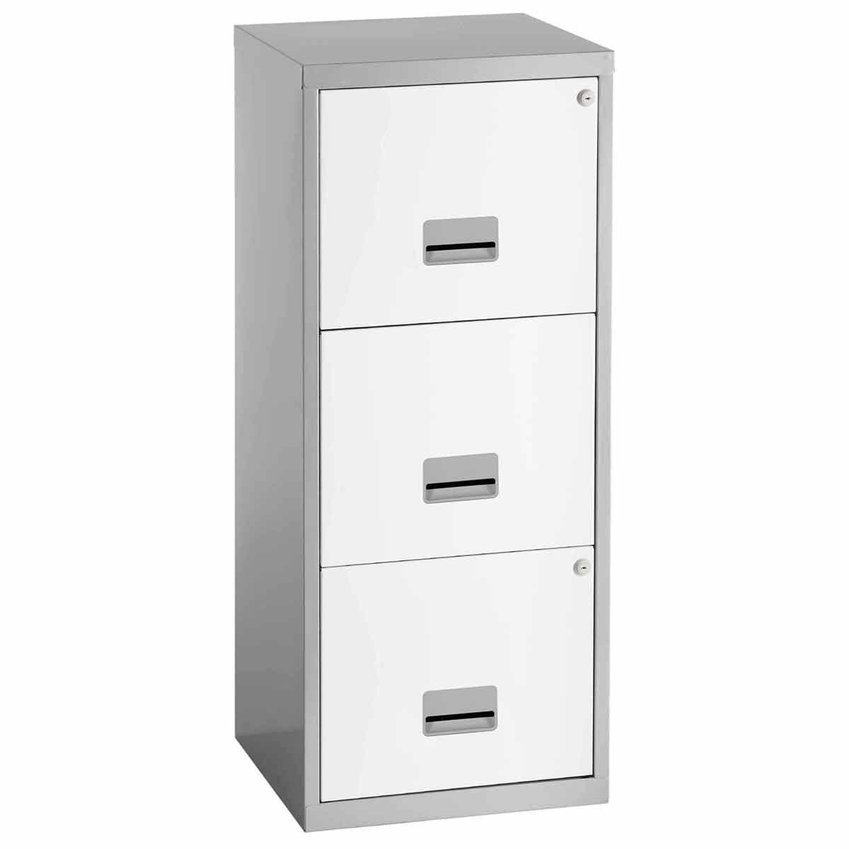 Pierre Henry A4 3 Drawer Maxi Filing Cabinet Silver/White