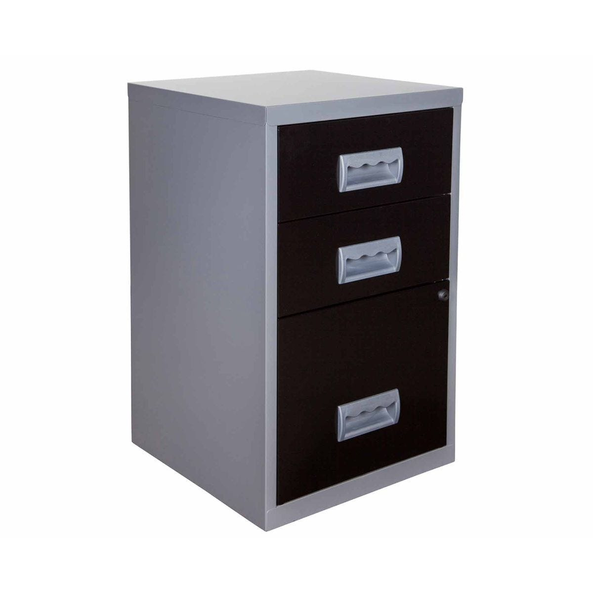 Pierre Henry 3 Drawer Combi Filing Cabinet A4 Black/Silver