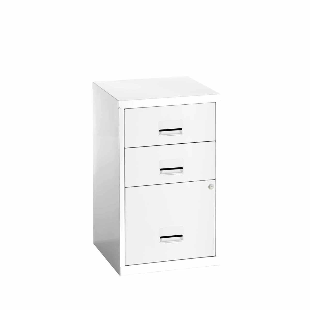 Pierre Henry 3 Drawer Combi Filing Cabinet A4 White