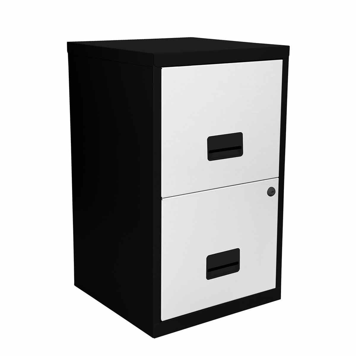 Pierre Henry Metal 2 Drawer Maxi Filing Cabinet A4 Black/White
