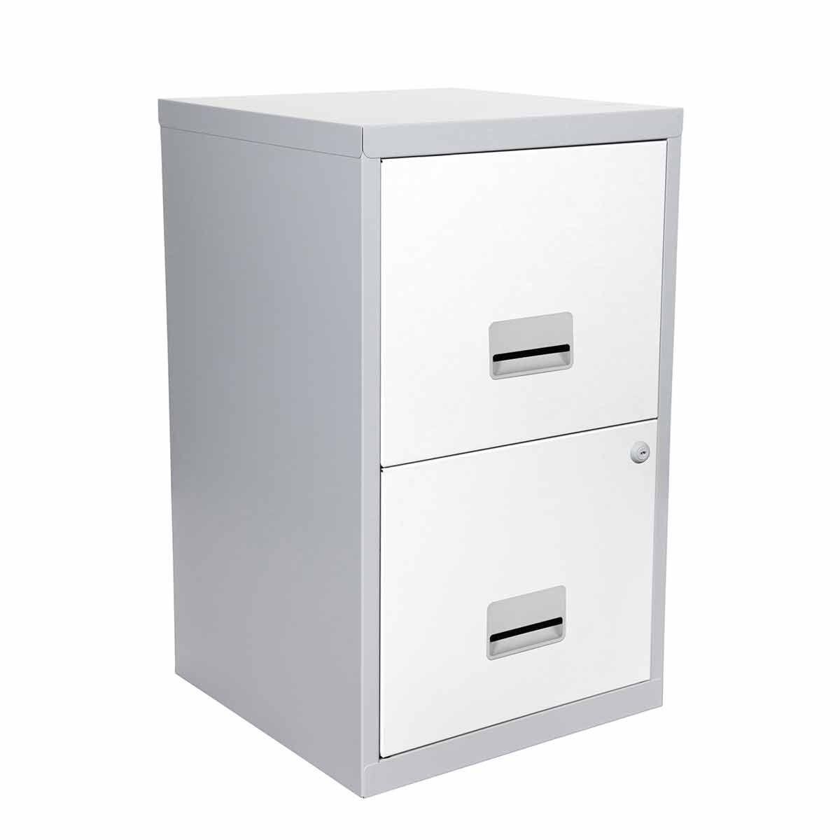 Pierre Henry Metal 2 Drawer Maxi Filing Cabinet A4 Slvr/Wht