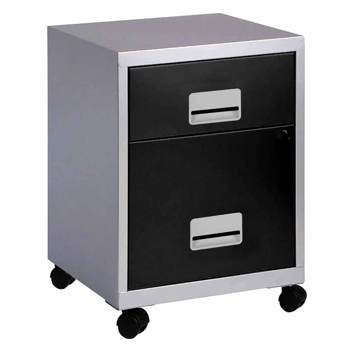 Pierre Henry Combi Filing Cabinet  2 Drawer Silver/Black