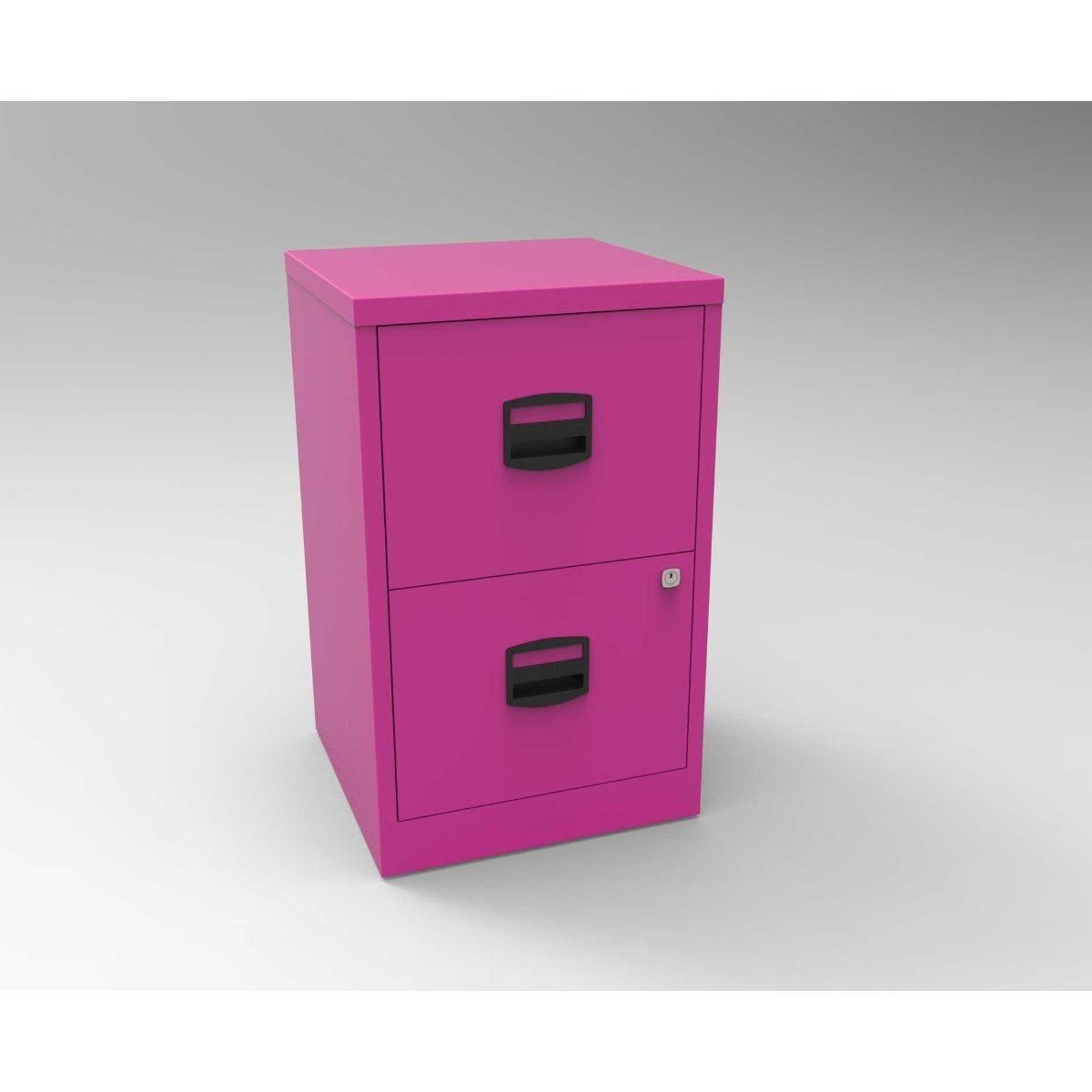 Bisley Metal Filing Cabinet 2 Drawer A4 Fuchsia