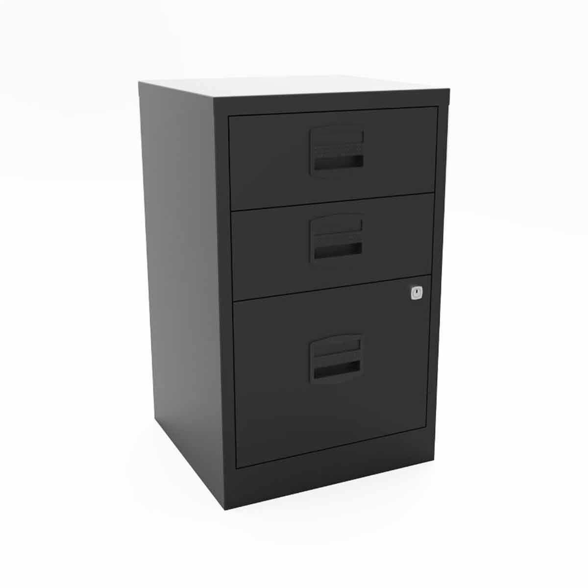 Bisley A4 3 Drawer Metal Stationery and Filing Cabinet Black
