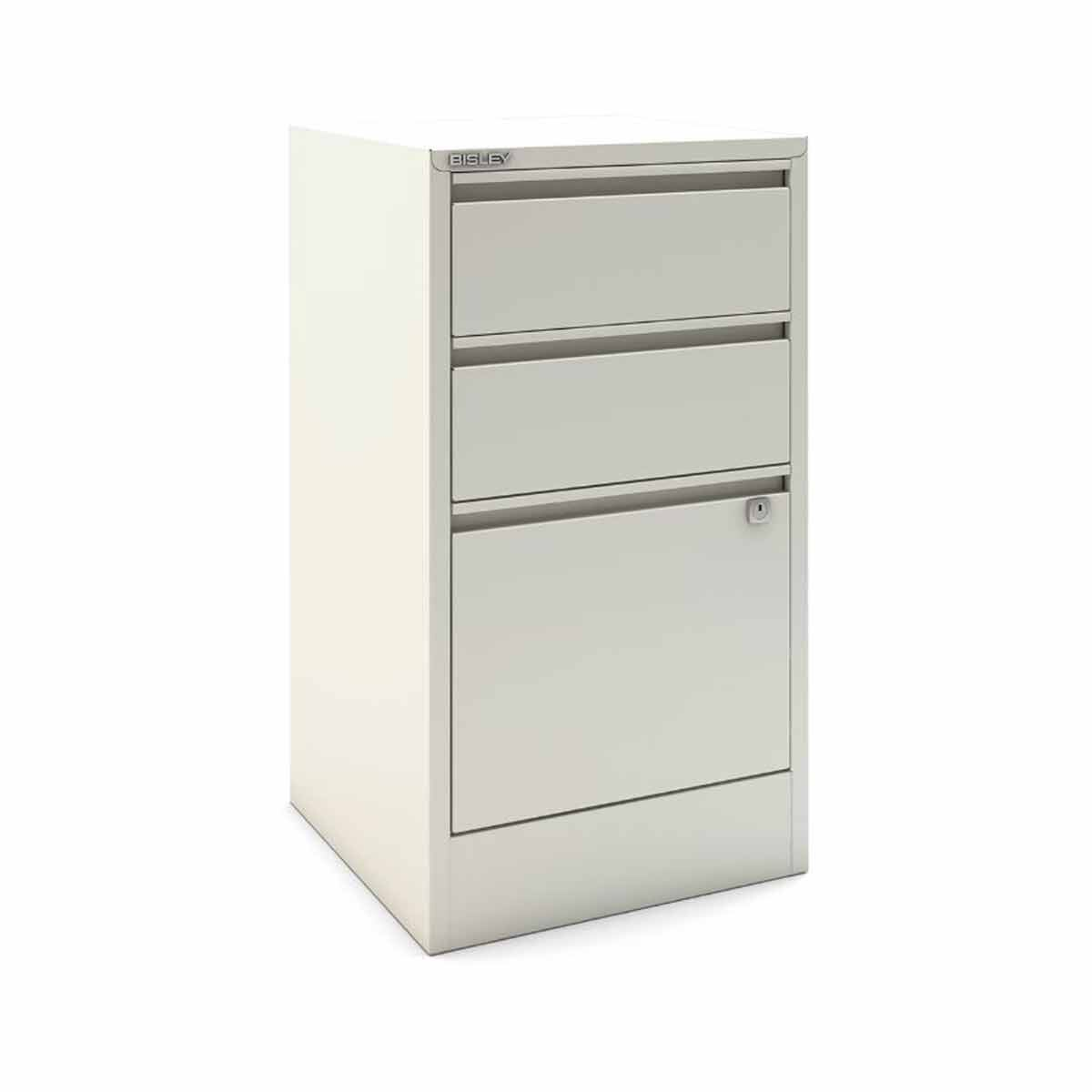 Bisley A4 3 Drawer Flush Front Stationery and Filing Cabinet White