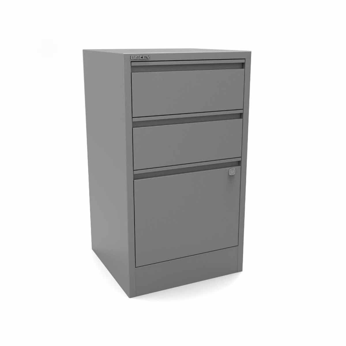 Bisley A4 3 Drawer Flush Front Stationery and Filing Cabinet Silver