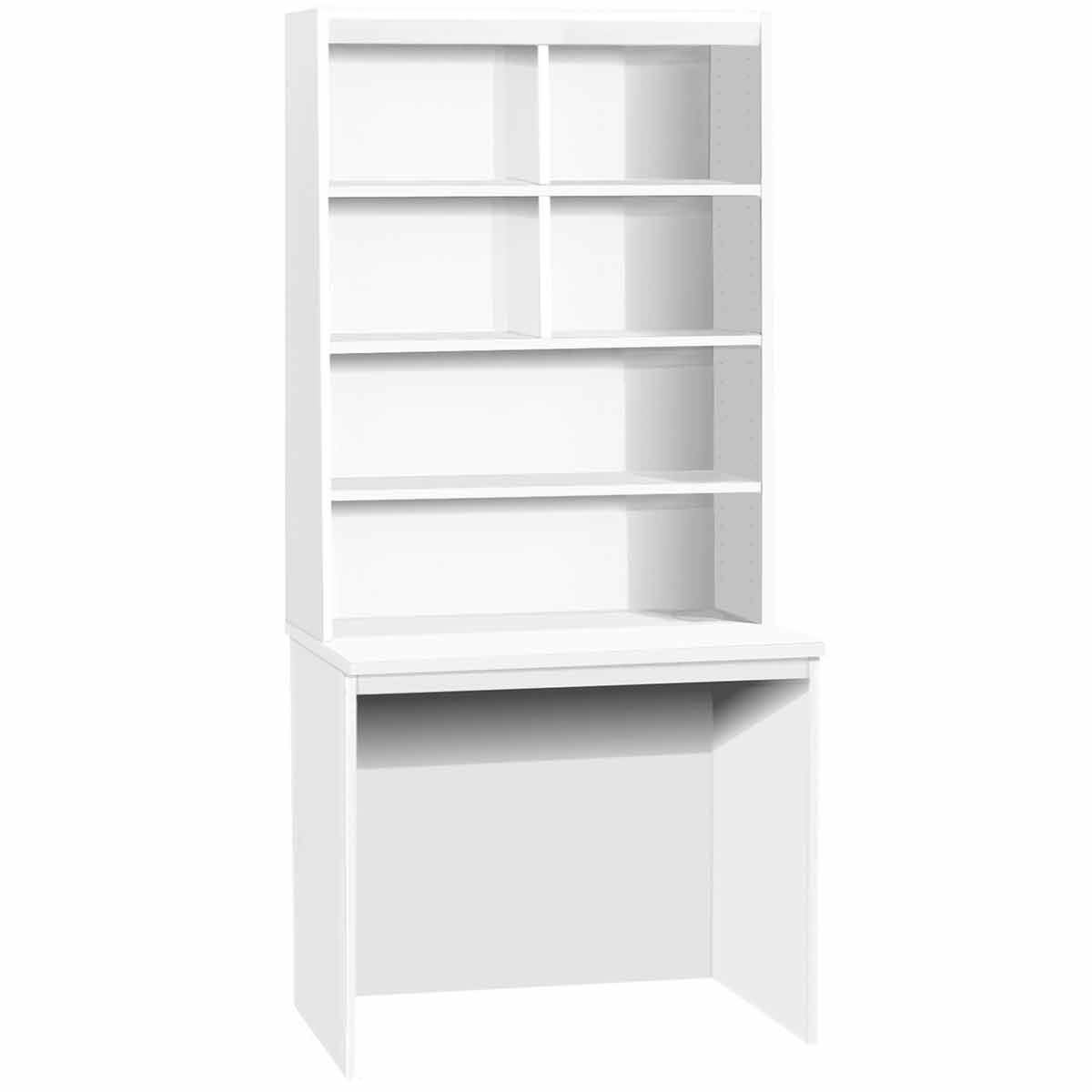 R White Medium Desk with OSF Hutch 60mm Wide White