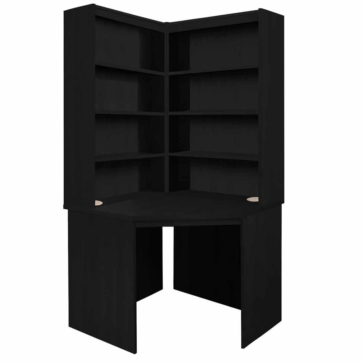 R White Corner Desk with OSO Hutch Set Black Havana