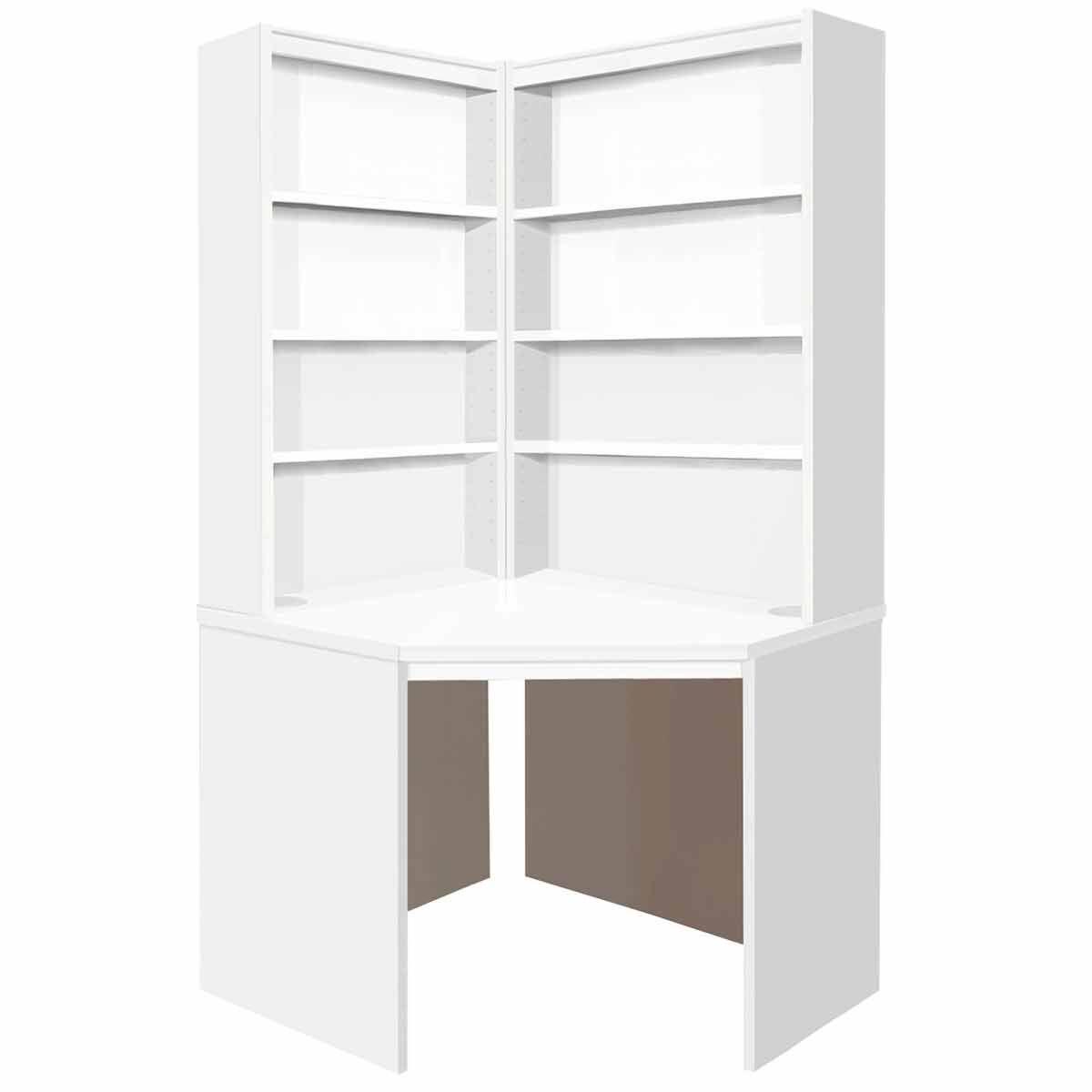 R White Corner Desk with OSO Hutch Set White