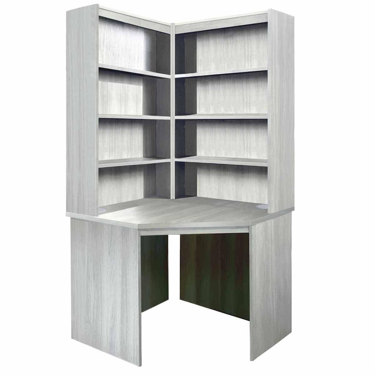R White Corner Desk with OSO Hutch Set Grey Nebraska