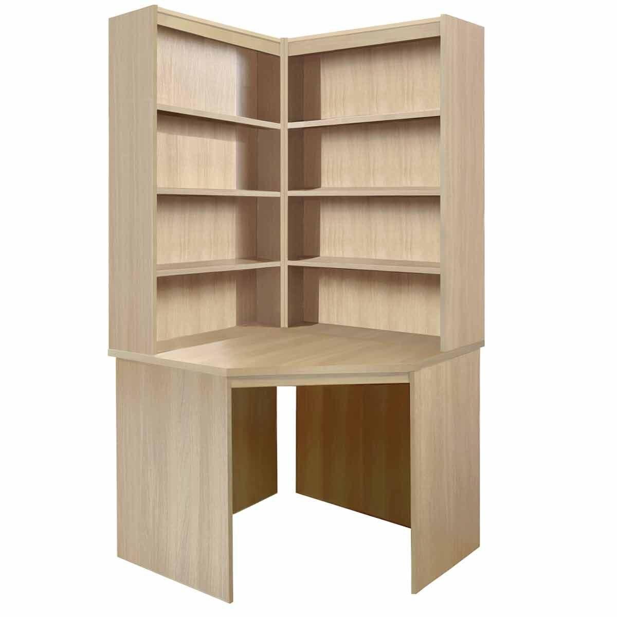 R White Corner Desk with OSO Hutch Set Sandstone
