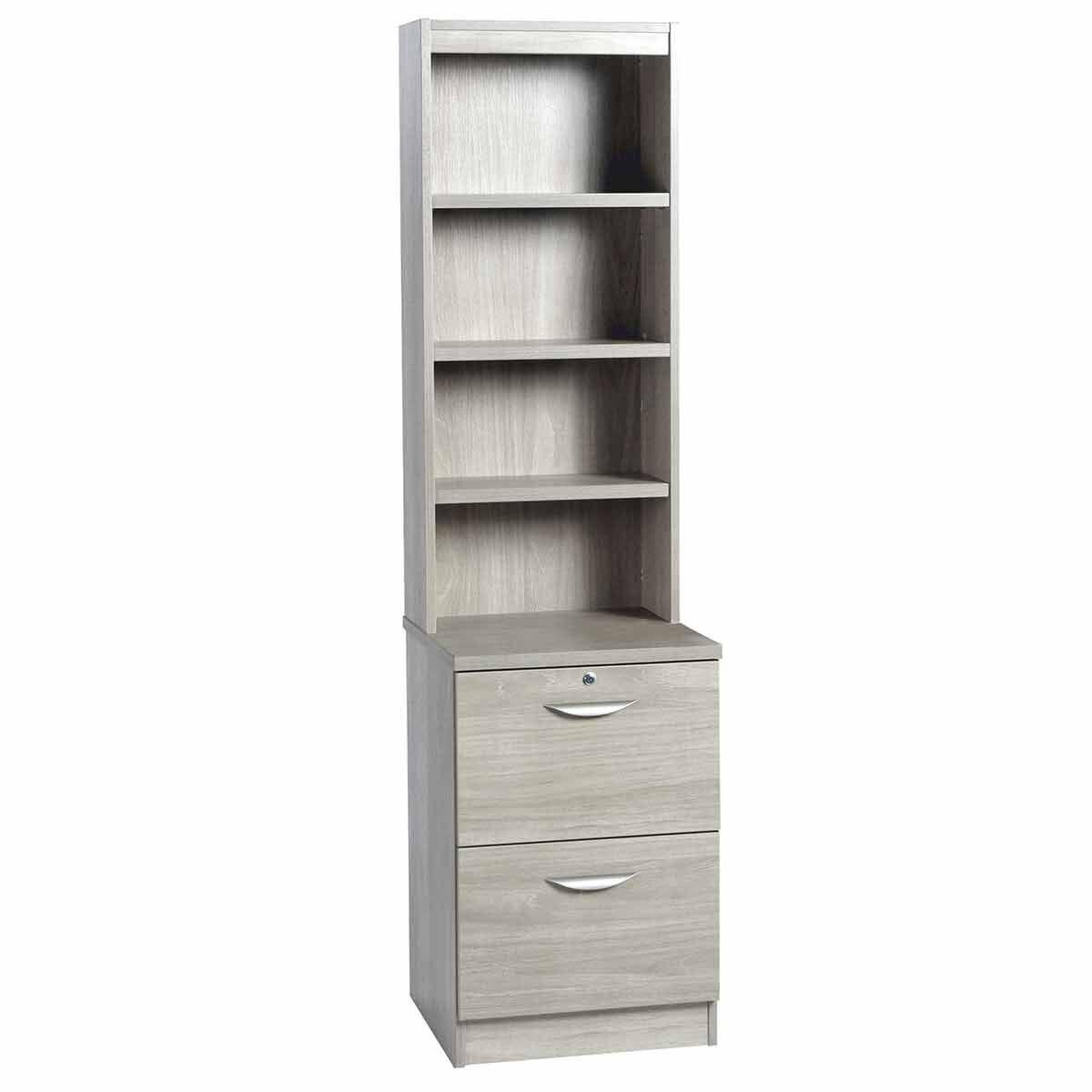 R White 2 Drawer Filing Cabinet With Overshelving Grey Nebraska