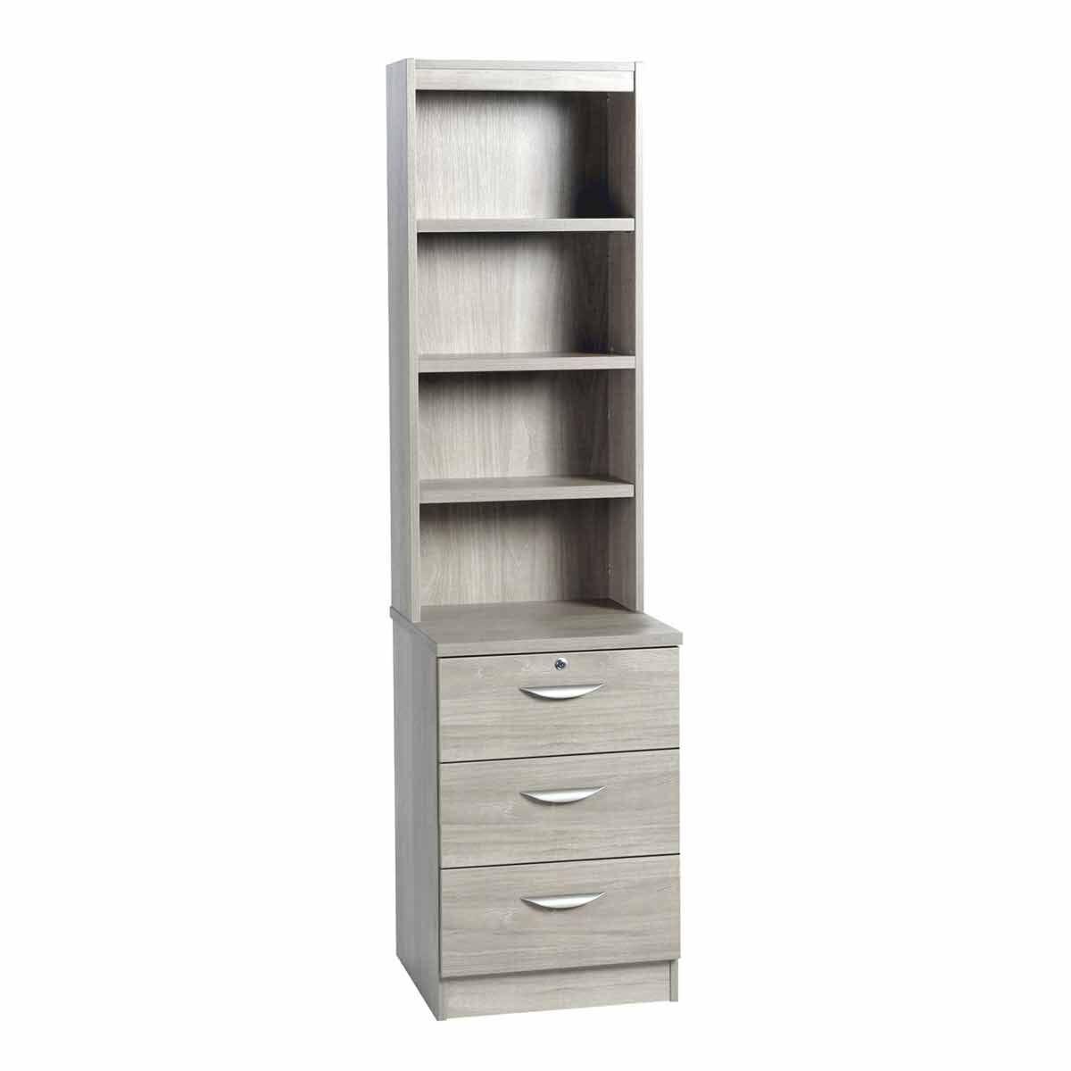 R White 3 Drawer CD/DVD Storage Unit With Overshelving Grey Nebraska