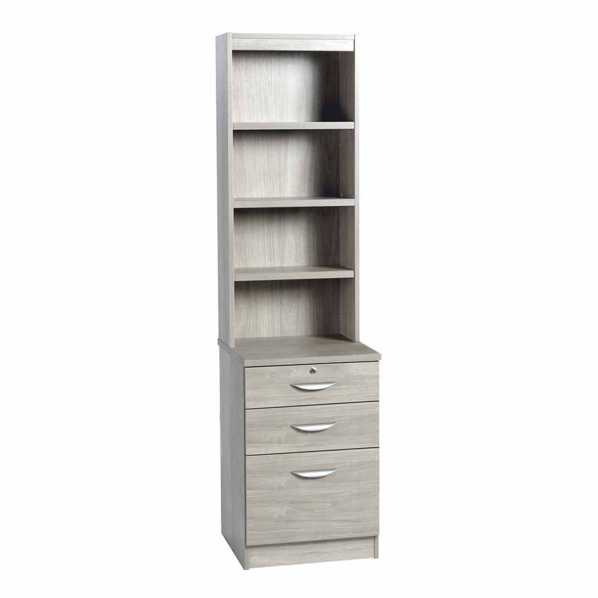 R White 3 Drawer Filing Cabinet with Overshelving Grey Nebraska