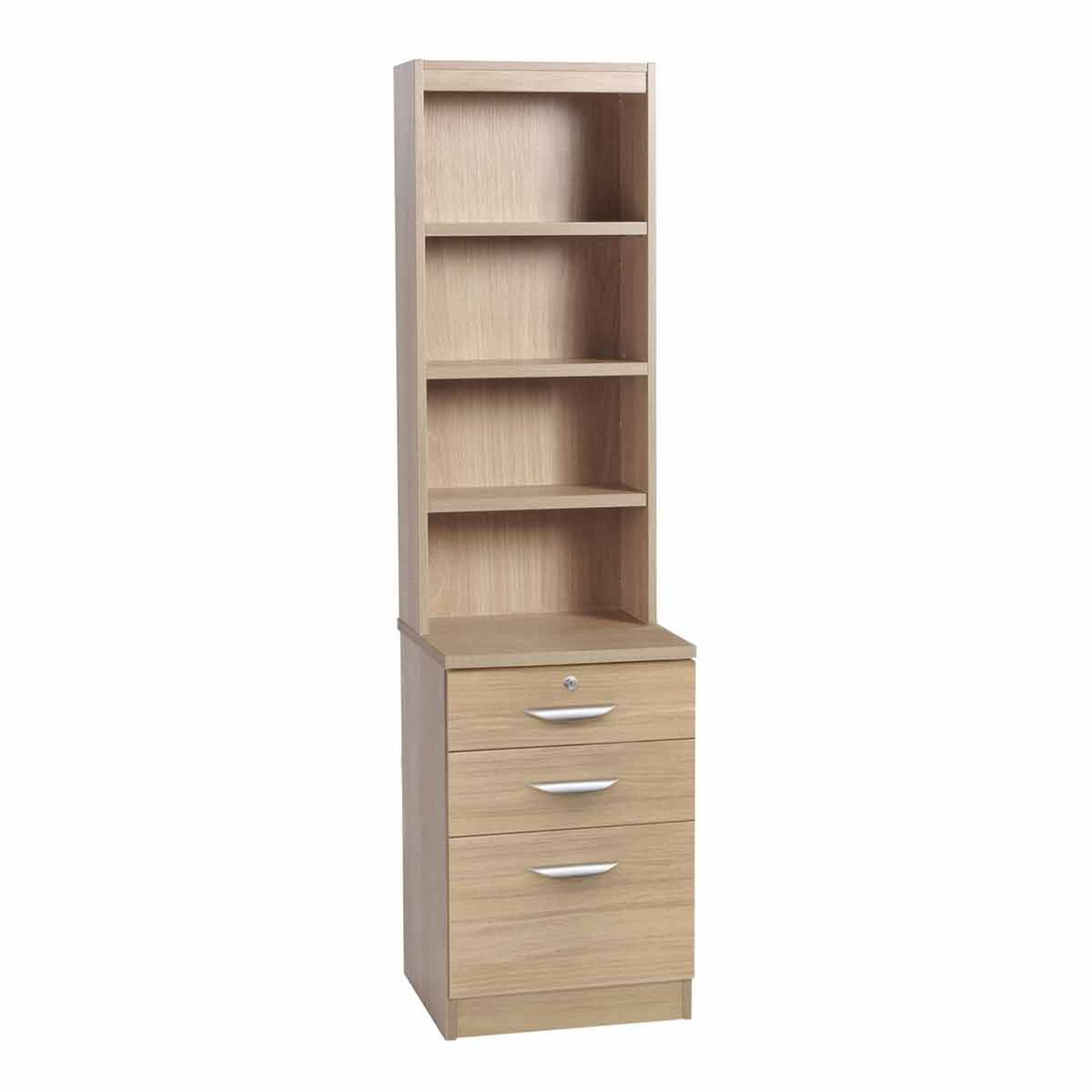 R White 3 Drawer Filing Cabinet with Overshelving Sandstone