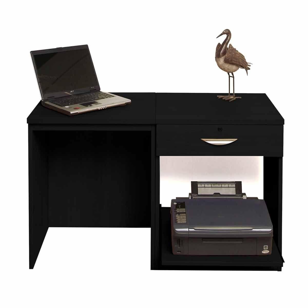 R White Home Office Desk Set with Drawer Black Havana