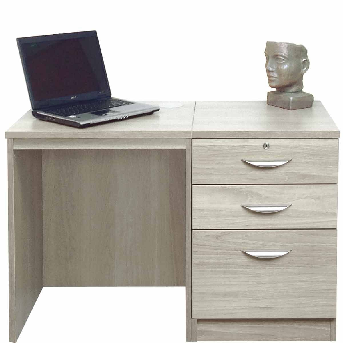 R White Home Office Desk Set with Drawers Grey Nebraska