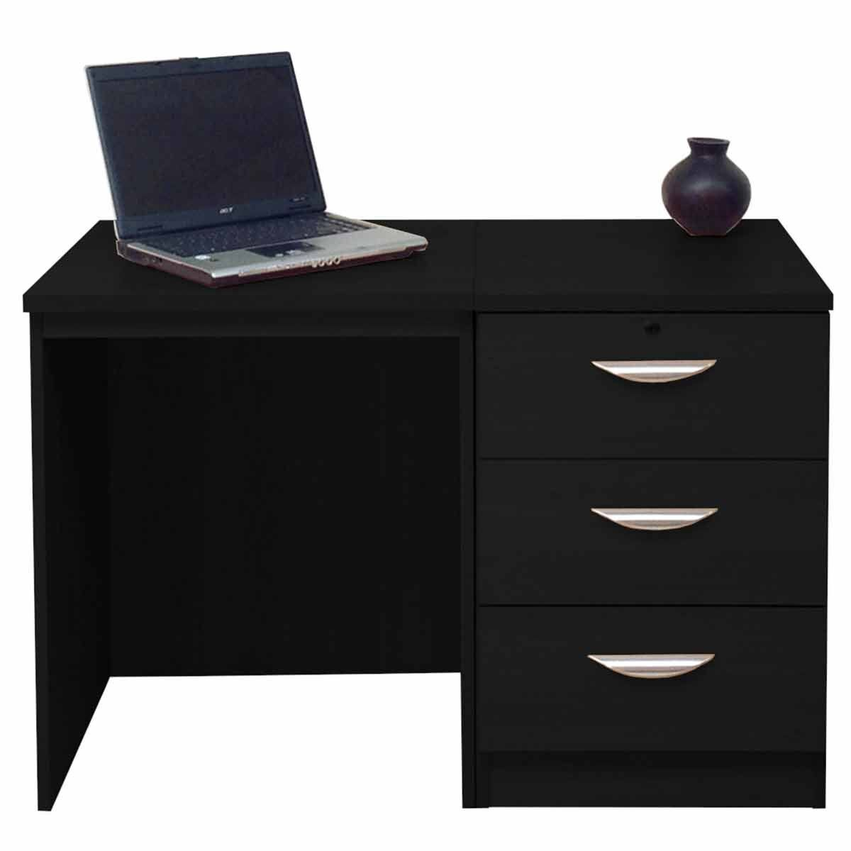 R White Home Office Desk with 3 Drawers Black Havana