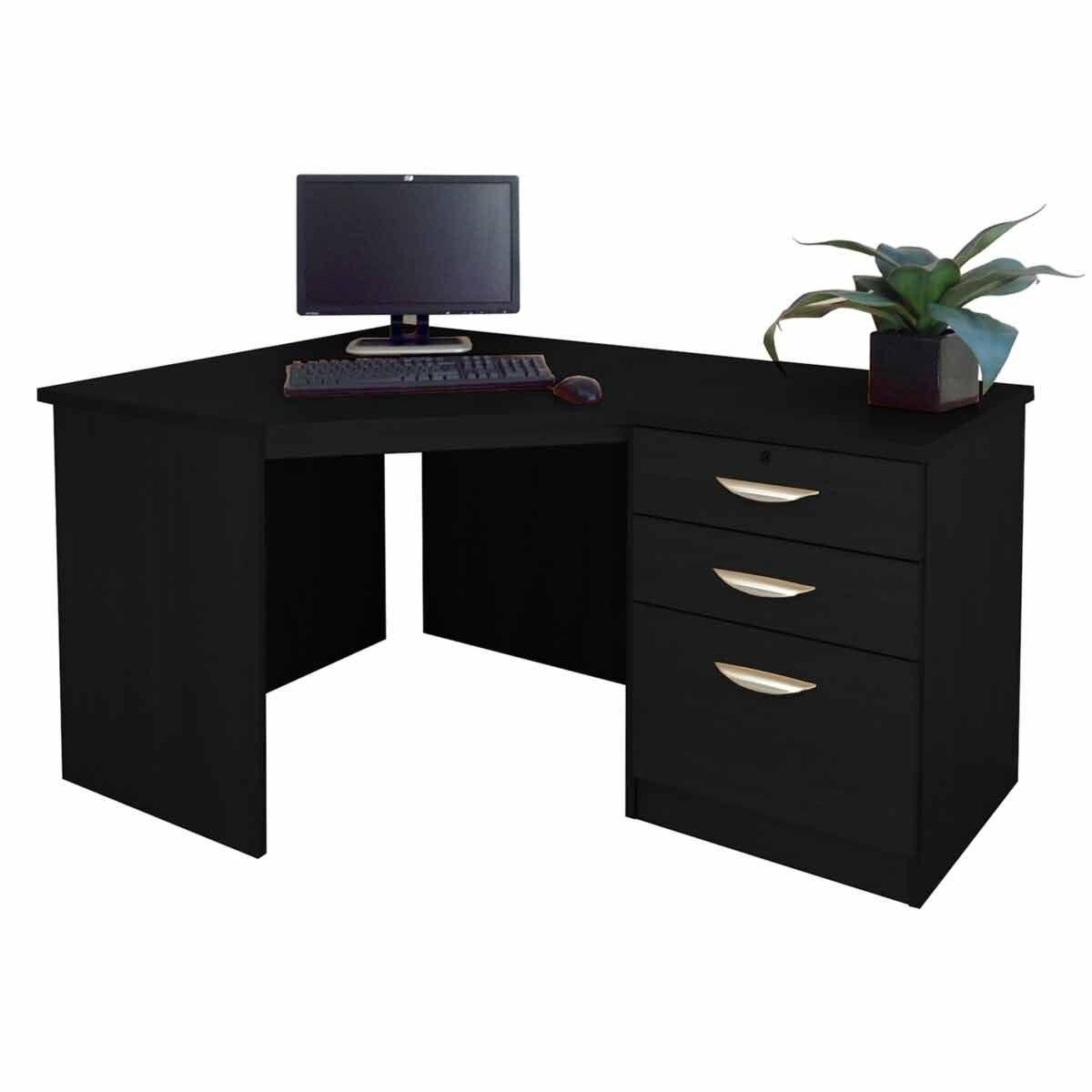 R White Home Office Corner Desk With Three Drawers Black Havana