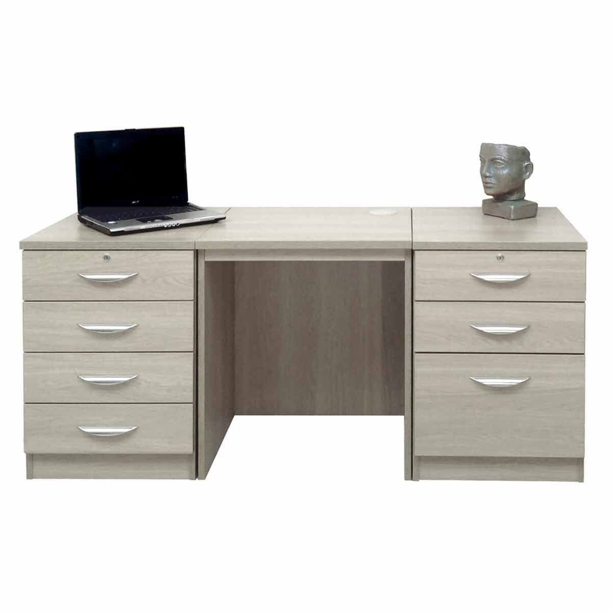 R White Home Office Furniture Desk Set With Double Drawers Grey Nebraska