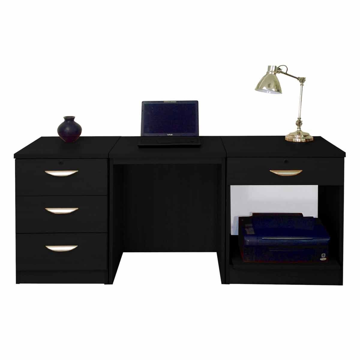 R White Home Office Furniture Desk Set Black Havana