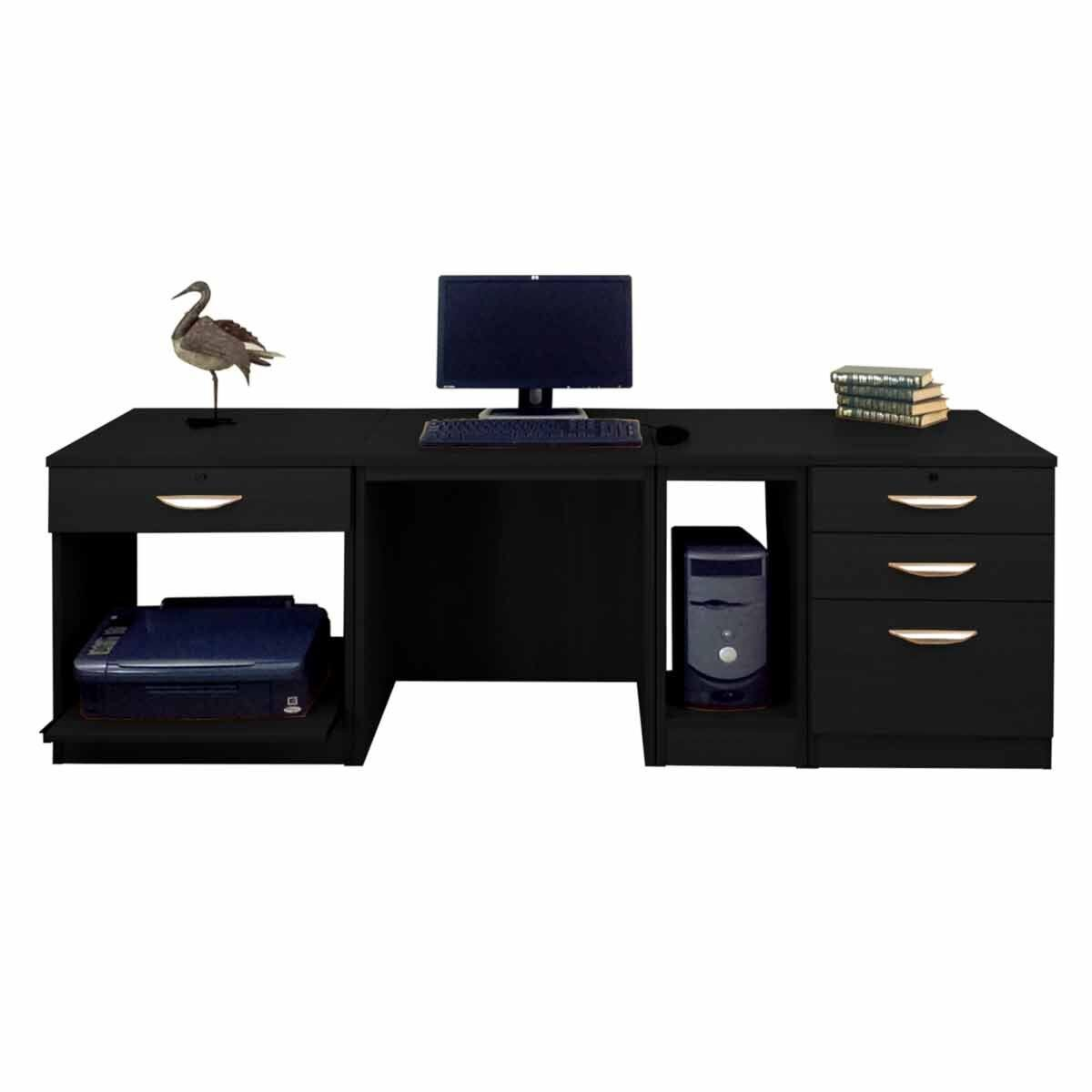 R White Home Office Wide Desk Black Havana