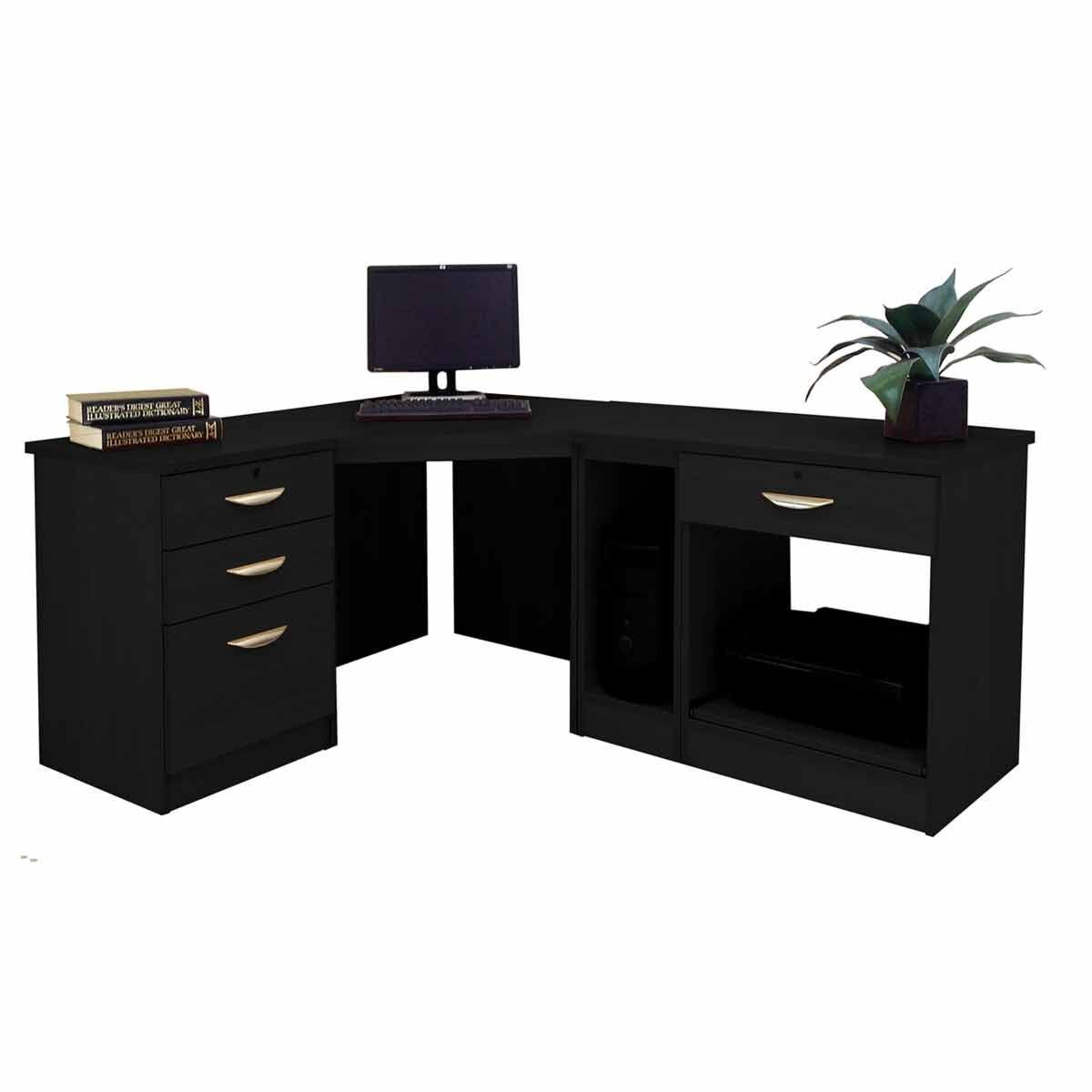 R White Home Office Wide Corner Desk Set Black Havana