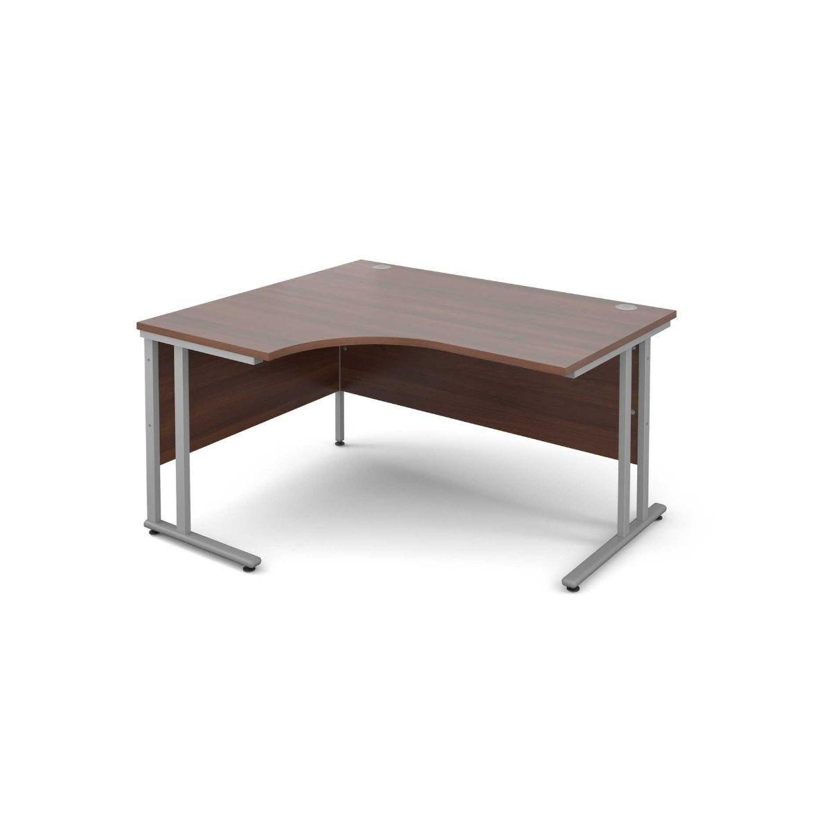 Maestro 25 Left Hand Ergonomic 1400 Desk with Silver Legs Walnut