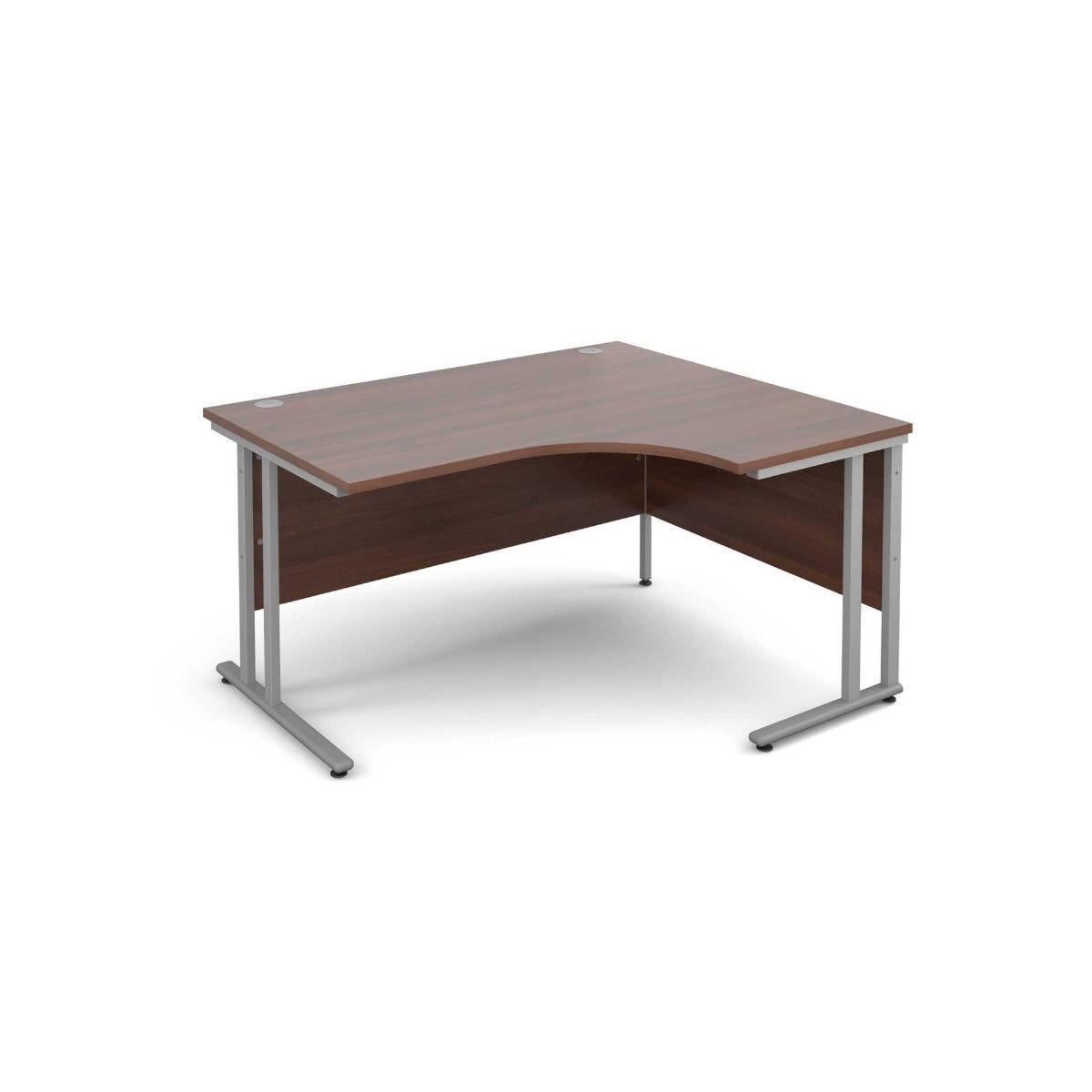 Maestro 25 Right Hand Ergonomic 1400 Desk with Silver Legs walnut