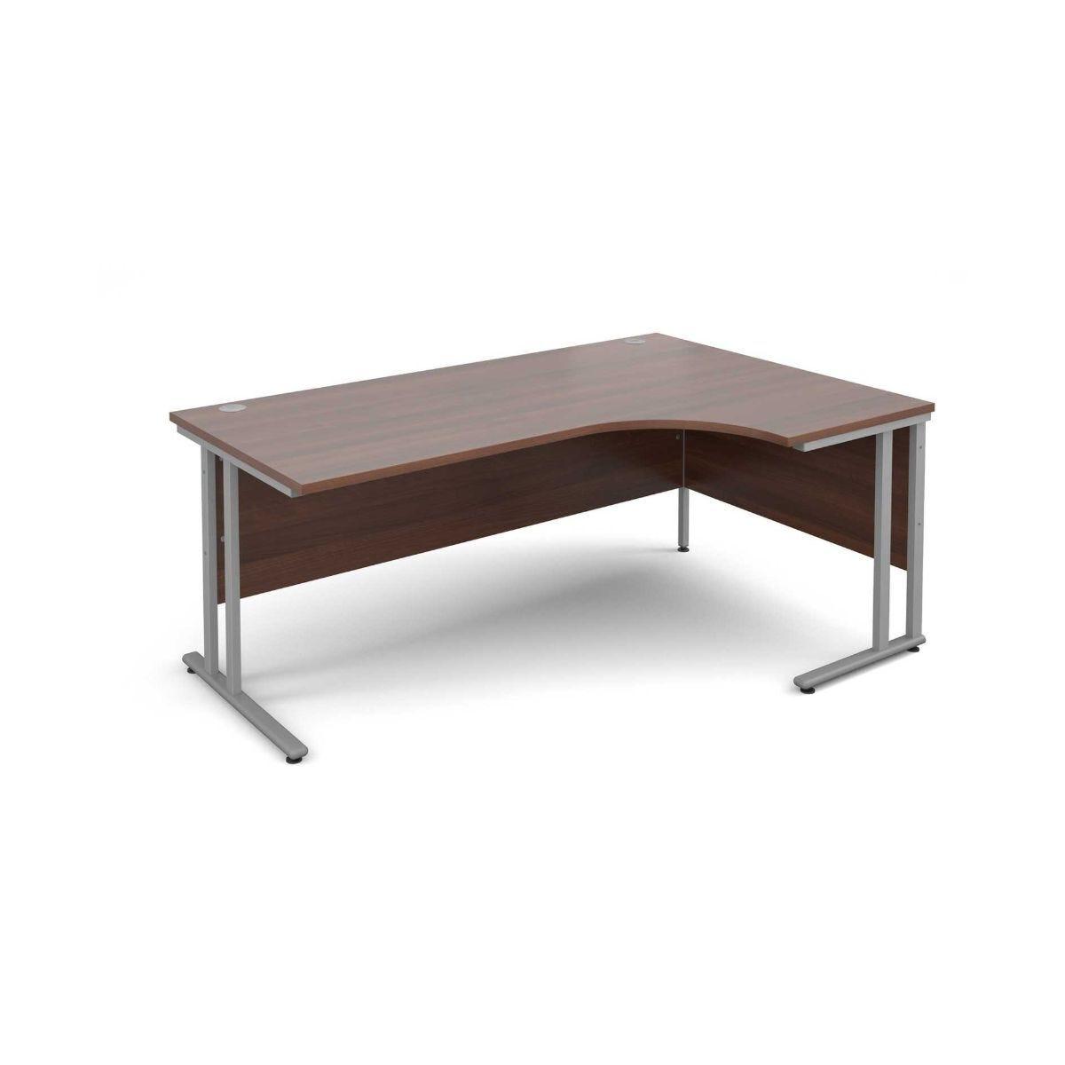 Maestro 25 Right Hand Ergonomic 1800 Desk with Silver Legs  Walnut