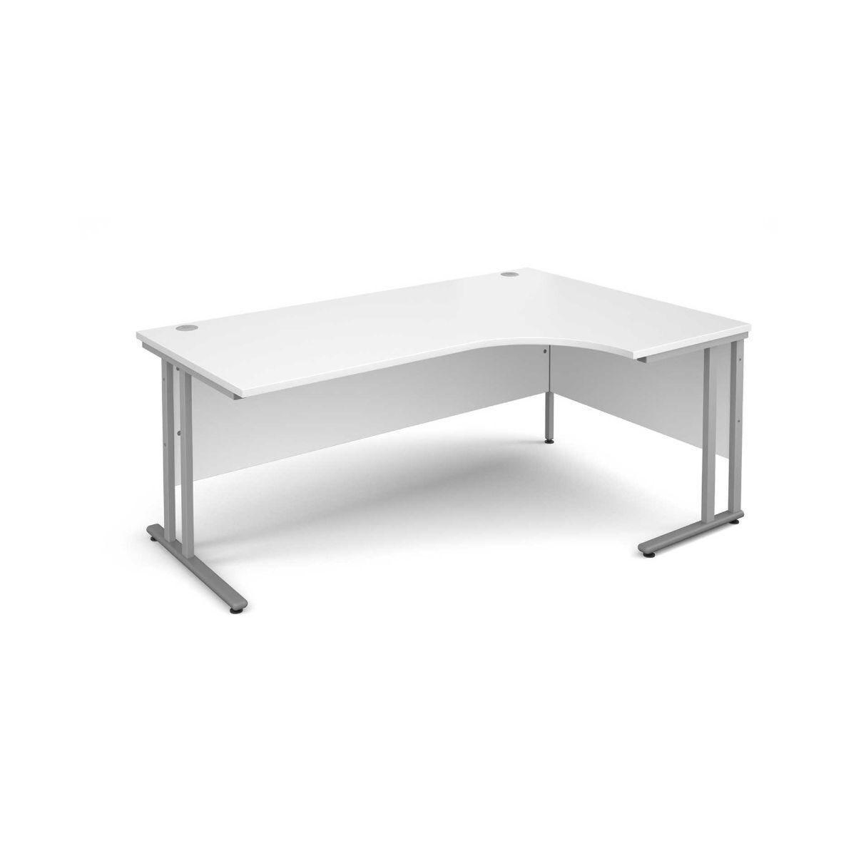 Maestro 25 Right Hand Ergonomic 1800 Desk with Silver Legs  White