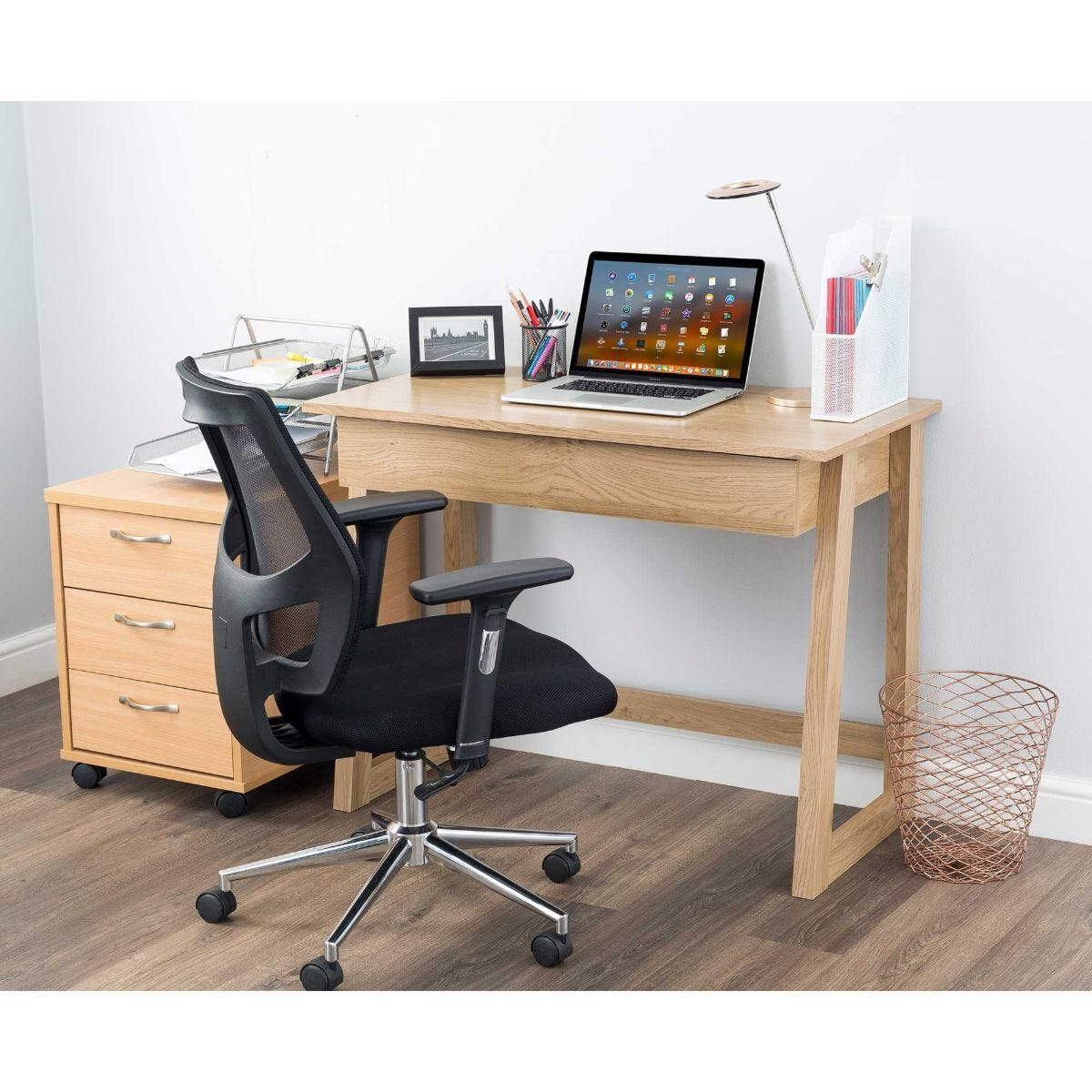 Malmo Oak Effect Office Desk with Drawer
