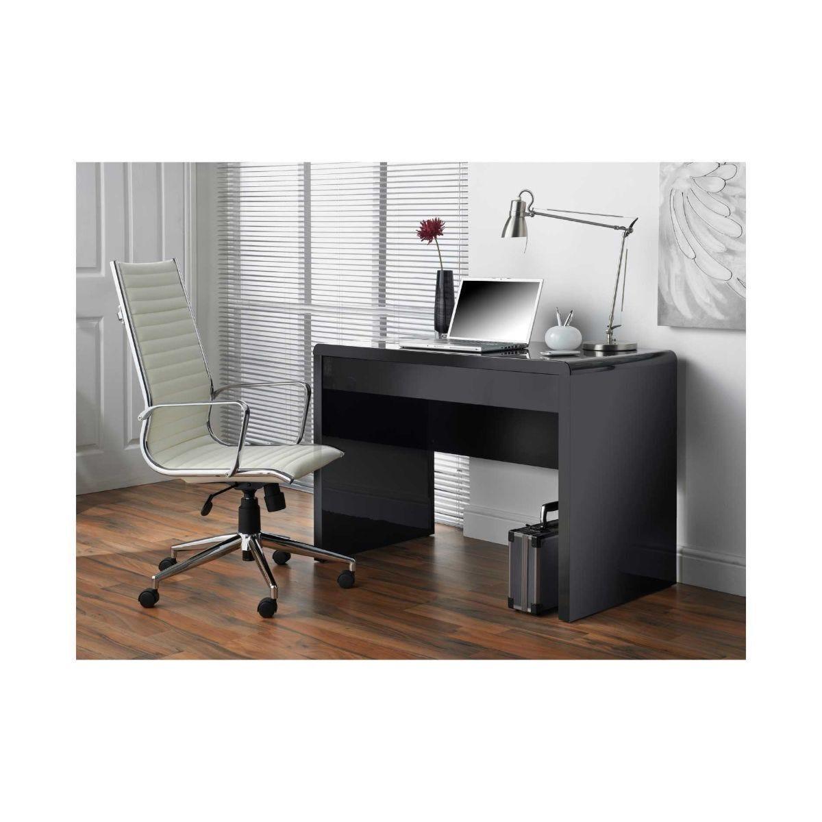 Luxor Gloss Workstation/Desk with Hidden Drawer Black