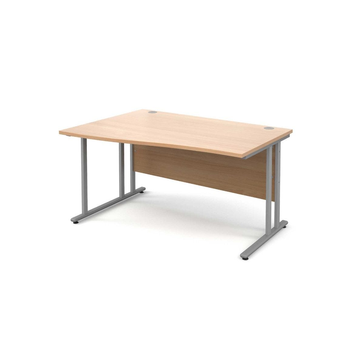 Maestro 25 Left Hand Wave 1400 Desk with Silver Legs beech