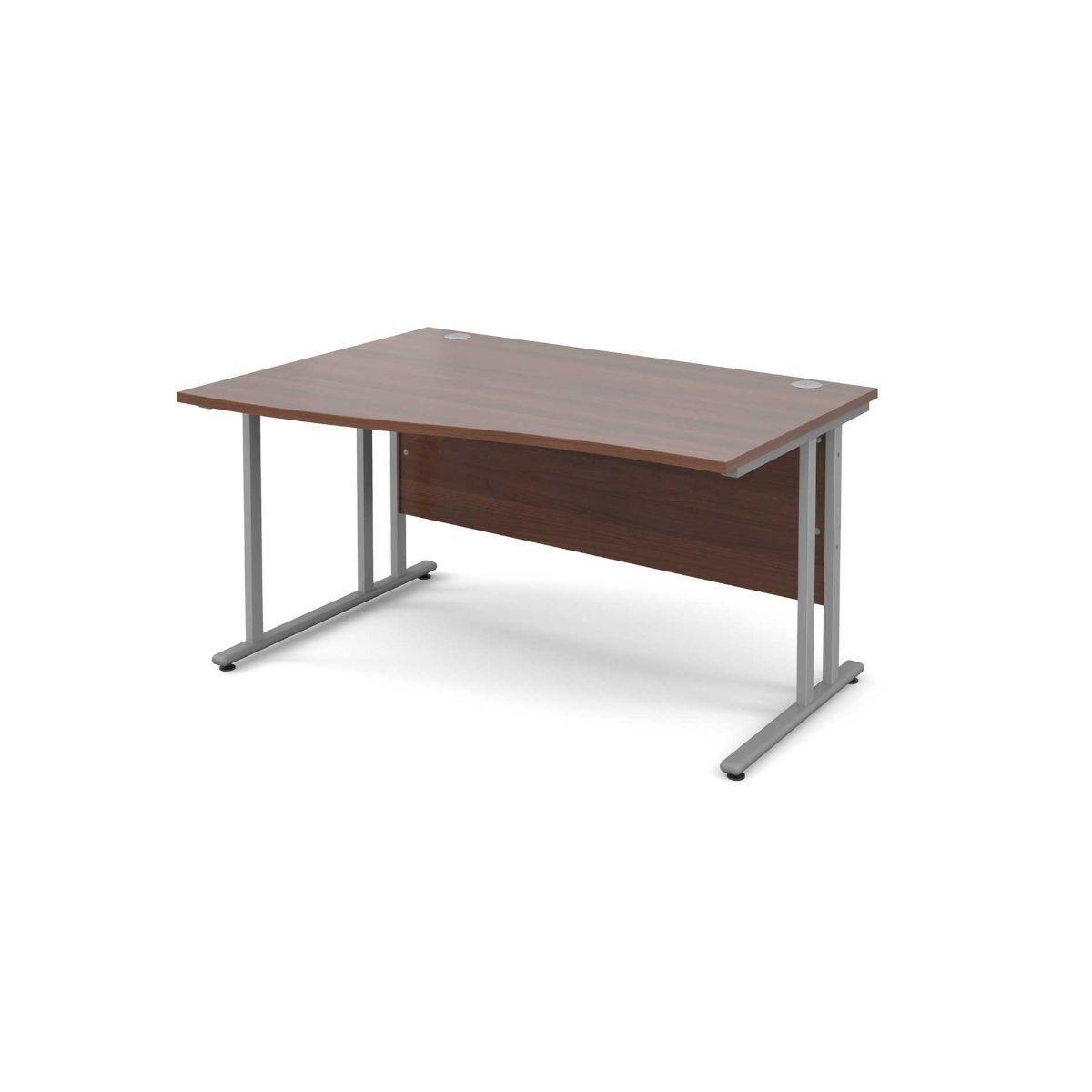 Maestro 25 Left Hand Wave 1400 Desk with Silver Legs walnut