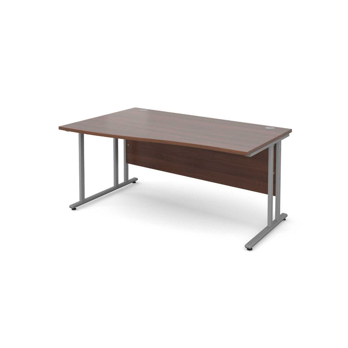 Maestro 25 Left Hand Wave 1600 Desk with Silver Legs silver leg walnut