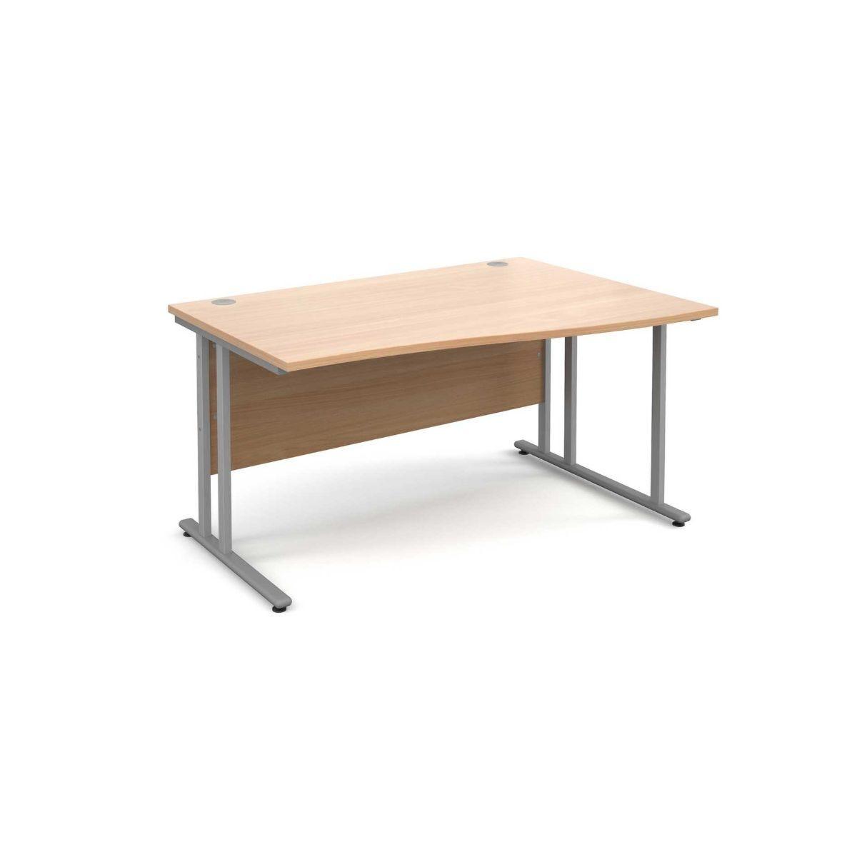 Maestro 25 Right Hand Wave 1400 Desk with Silver Legs