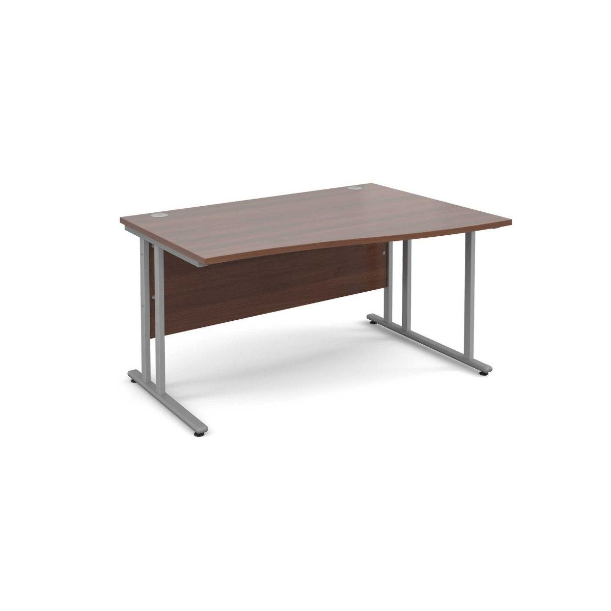 Maestro 25 Right Hand Wave 1400 Desk with Silver Legs Walnut