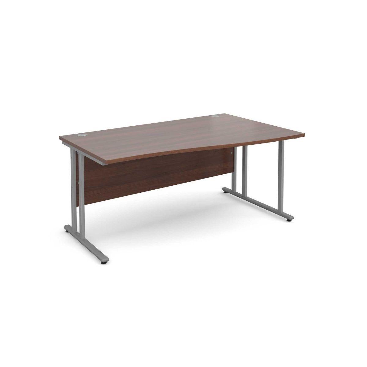 Maestro 25 Right Hand Wave 1600 Desk with Silver Legs Walnut