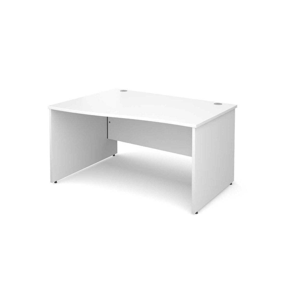 Maestro 25 Left Hand Wave 1400 Desk with End Panel White