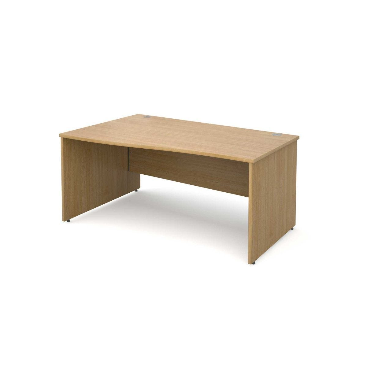 Maestro 25 Left Hand Wave 1600 Desk with End Panel Oak