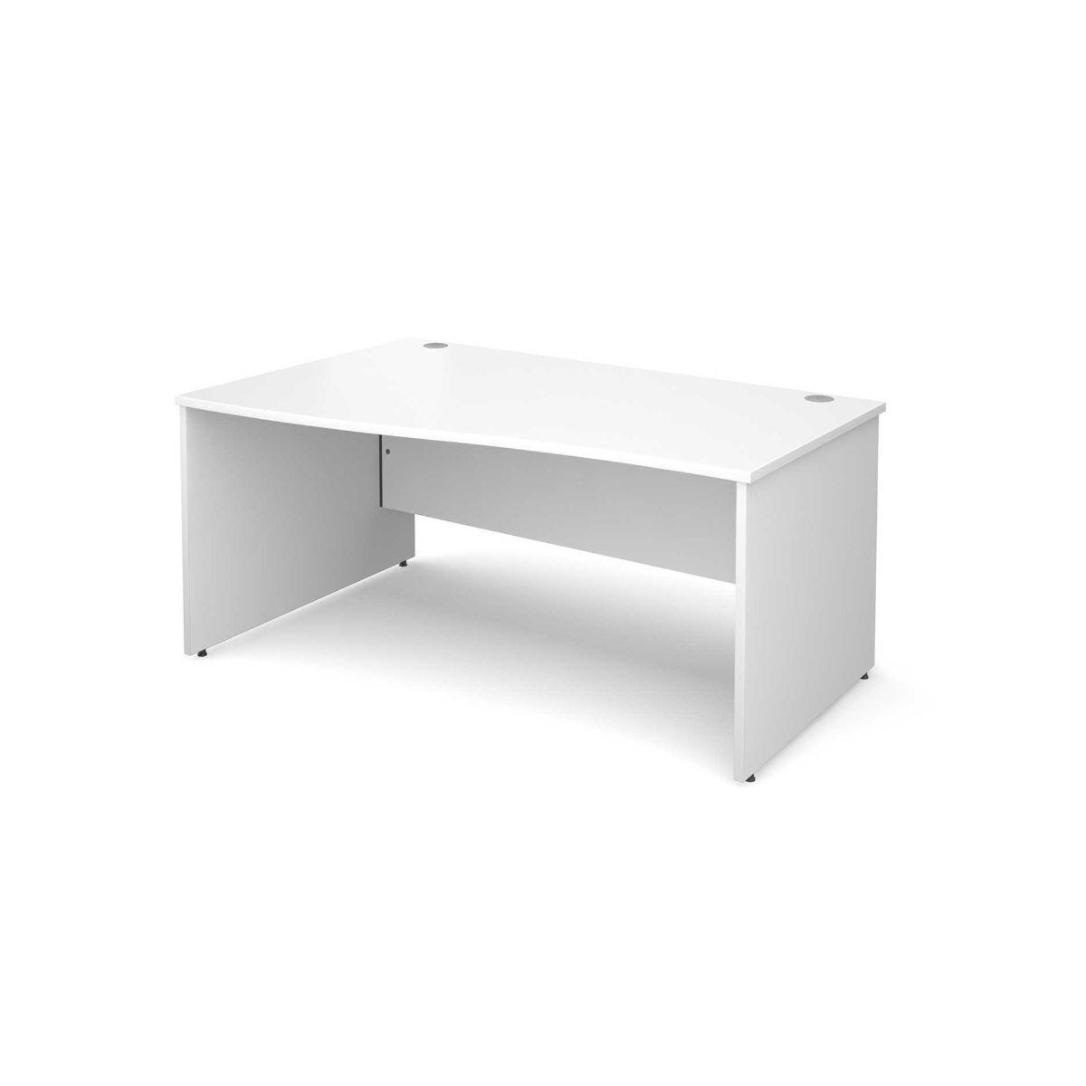Maestro 25 Left Hand Wave 1600 Desk with End Panel White