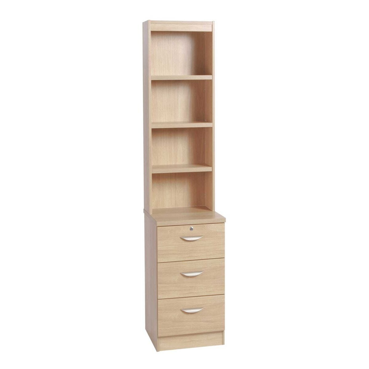 R White 3 Drawer CD/DVD Storage Unit With Overshelving