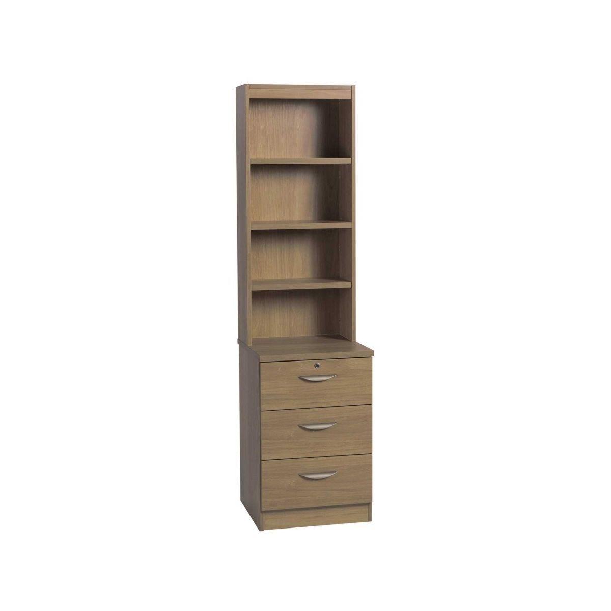 R White 3 Drawer CD/DVD Storage Unit With Overshelving English Oak Wood Grain