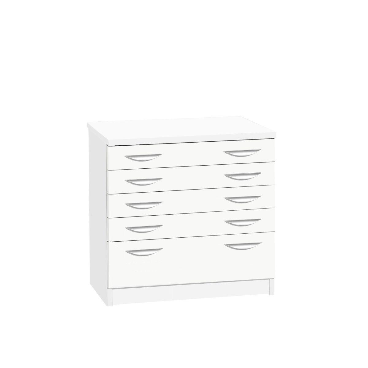 R White Professional 5 Drawer A2 Plan Chest White Satin
