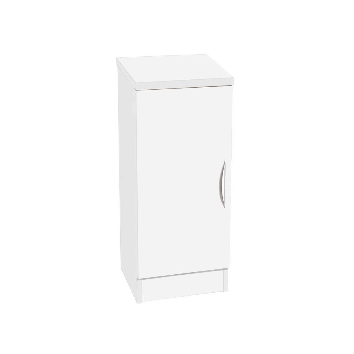 R White Desk Height Narrow Cupboard 30cm White Satin