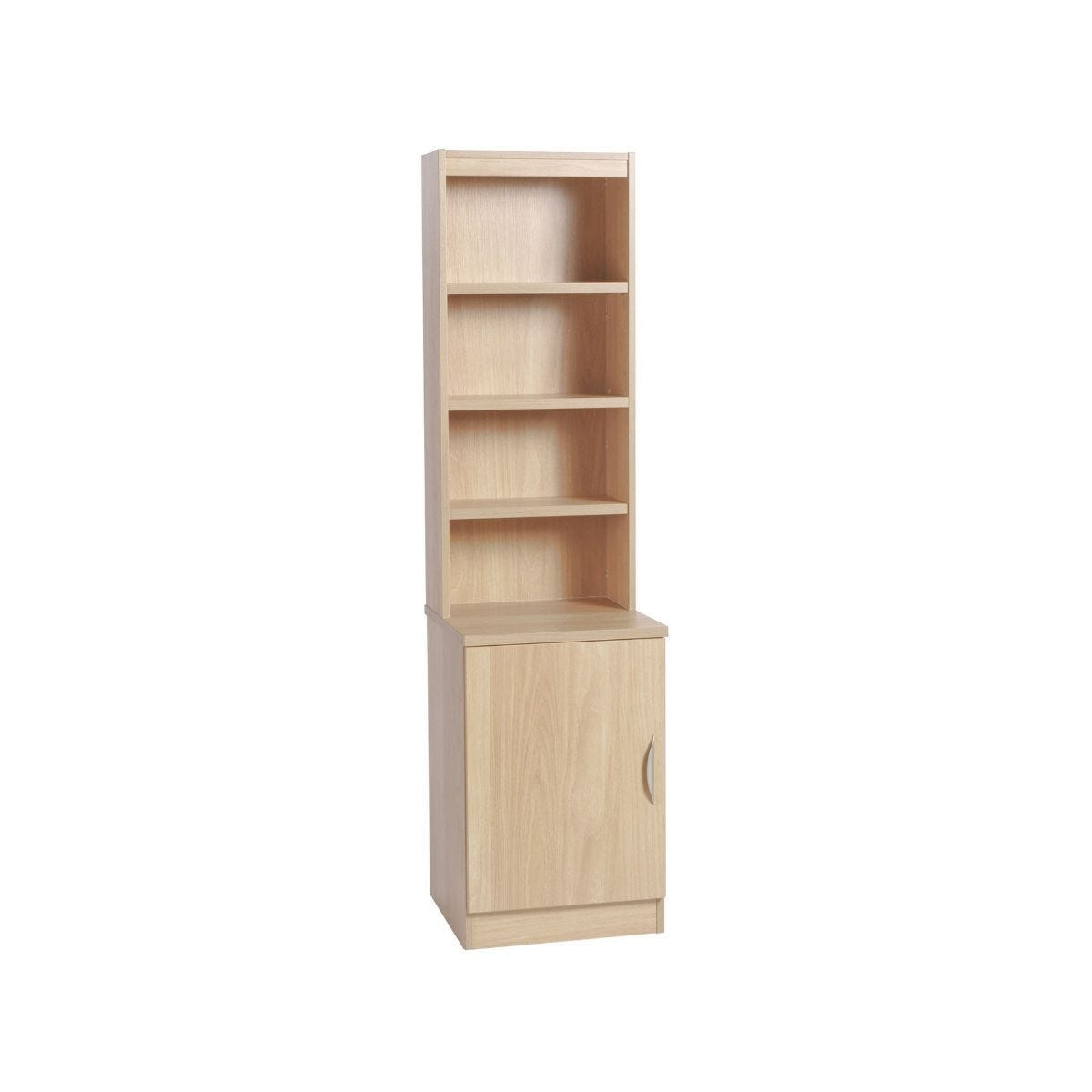 R White Desk Height Wide Cupboard 48cm with Overshelving